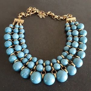 Vintage turquoise bead gold statement necklace